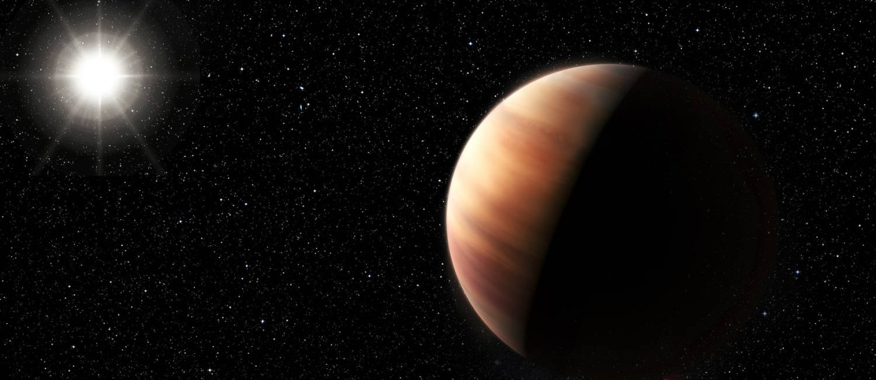 """Ilustração mostra o recém-descoberto planeta extrassolar """"gêmeo"""" de Júpiter na órbita de sua estrela Foto: ESO/M. Kornmesser"""