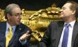O presidente da Câmara, Eduardo Cunha (PMDB-RJ) e o presidente do Senado, Renan Calheiros (PMDB-AL)