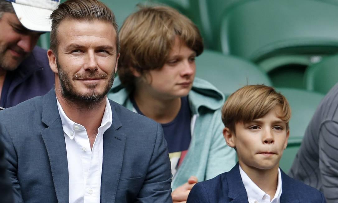 Mais um clique de David Beckham e Romeo SUZANNE PLUNKETT / REUTERS