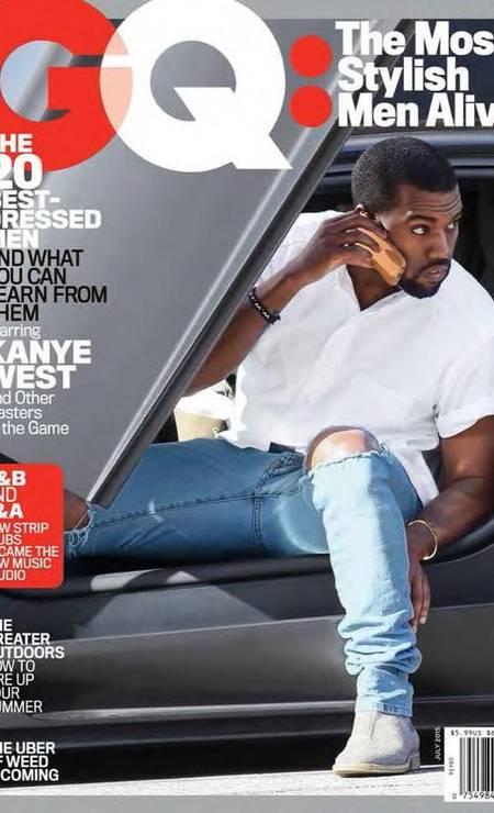 """A segunda-feira foi movimentada para Kanye West. Horas depois de ficar sabendo que será pai de um menino, em um anúncio feito pela mulher, Kim Kardashian, no Instagram, o rapper foi eleito pela revista GQ o """"homem mais estiloso do mundo"""" Reprodução / Reprodução"""