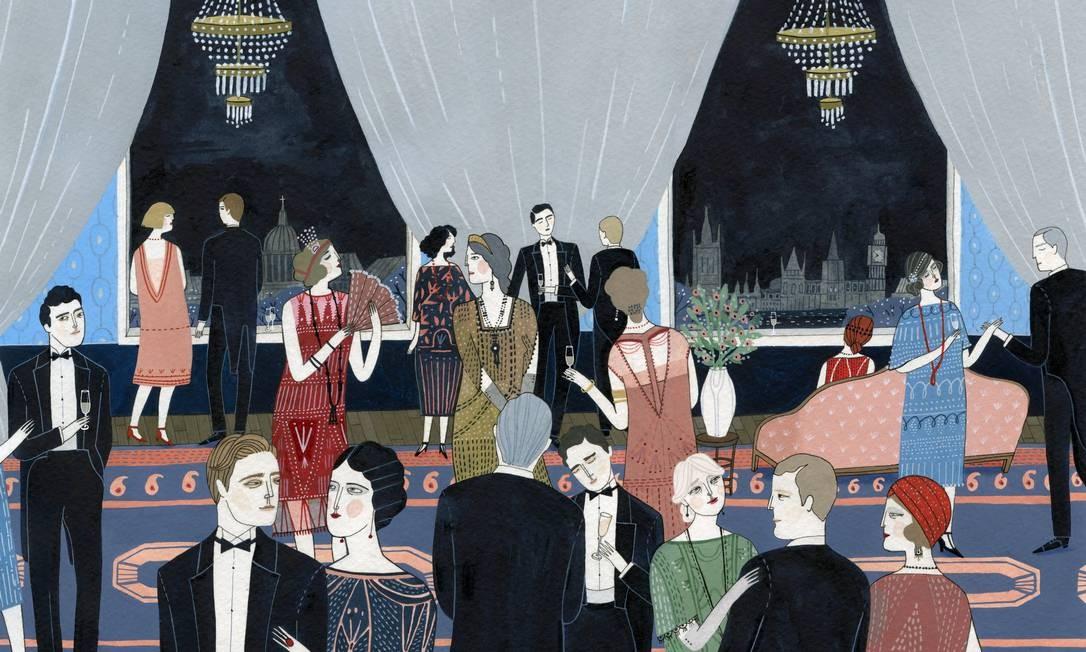As festas do high society londrino dos anos 20 ganharam cores fortíssimas e muita animação Foto: Arte de Yelena Bryksenkova / Arte de Yelena Bryksenkova