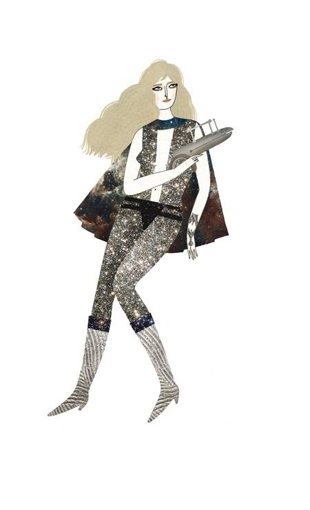 Barbarella por Yelena, personagem interpretada por Jane Fonda no cinema, ganhou figurino disco com glitter, galáxias e decote Foto: Arte de Yelena Bryksenkova / Arte de Yelena Bryksenkova