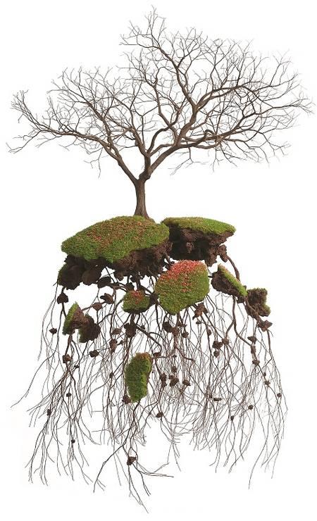 """ARTE: """"Cubanía"""" é o que os cubanos sentem quando saem da ilha. A paisagem, as pessoas, o rum, o tabaco, a música, tudo traz à baila essa sensação. Foi por saudade que o artista Jorge Mayet (que hoje mora em Palma de Mallorca, na Espanha) imaginou os seus pedaços de terra flutuantes. A série Cubanía mostra cenários com pequenas árvores (feitas de esponja, papel machê e arames), com galhos que buscam o céu e com raízes que se agarram à terra. O efeito é de beleza, unindo ao mesmo tempo força e delicadeza. No Rio, as peças estão na Galeria Inox. Fora do Brasil, Mayet tem obras em museus como a Saatchi Gallery, em Londres, o MAD Museum, em Nova York, e na Leo Gallery, em Xangai Foto: www.galeriainox.com.br / Divulgação"""