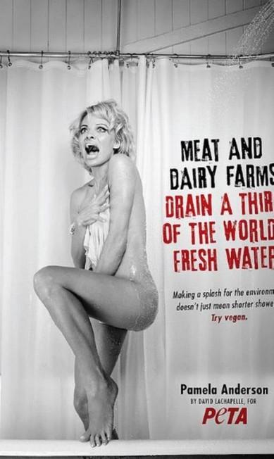 Pamela Anderson revive a famosa cena do banheiro de 'Psicose' para anúncio de ONG Peta, em 2015 Divulgação /Peta