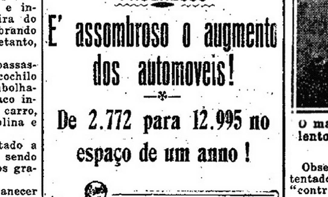 OUTROS TEMPOS. Primeira edição do Globo alertava para aumento do número de automóveis Foto: reprodução