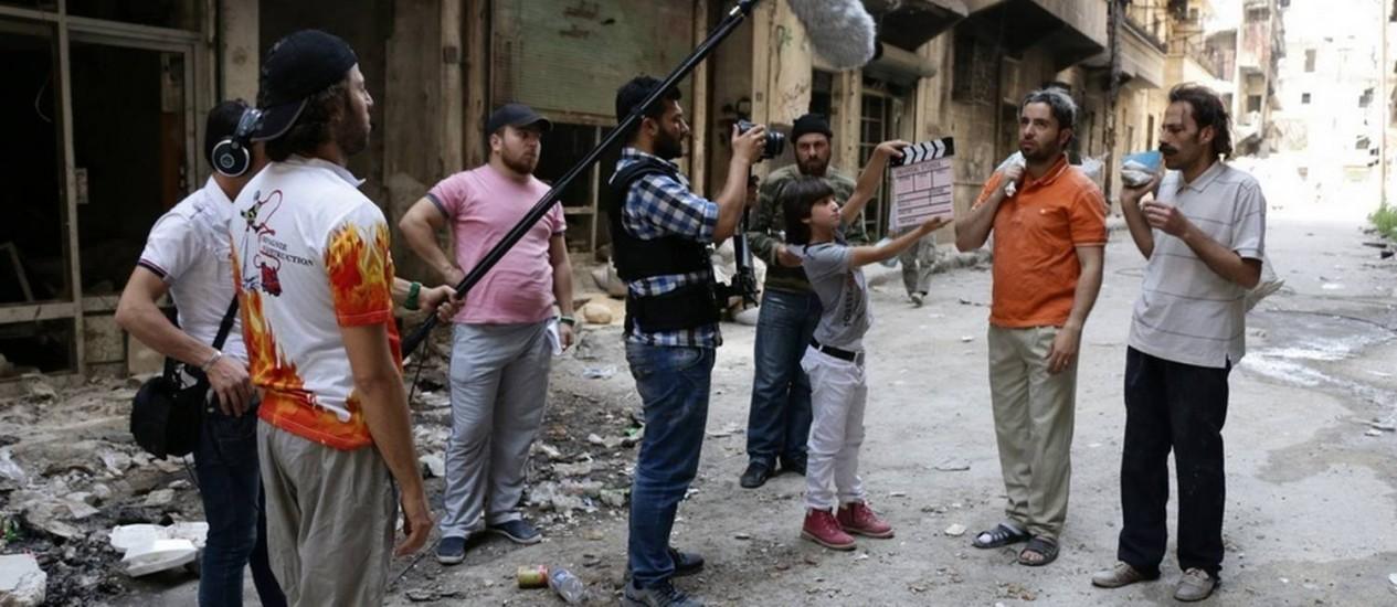 Filmagens da série 'Banidos da Síria', em Aleppo Foto: Reprodução