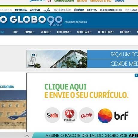 Plataforma. Anúncio da BRF em O GLOBO Foto: Divulgação / Reprodução