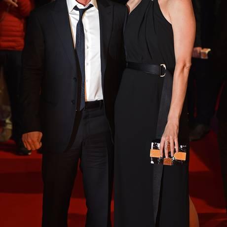 Sean Penn e Charlize Theron em evento em fevereiro de 2015 Foto: LEON NEAL / AFP
