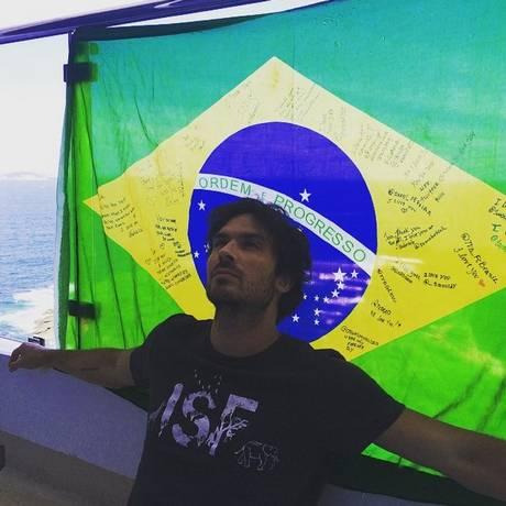 Ian Somerhalder em Ipanema, no Rio Foto: Instagram