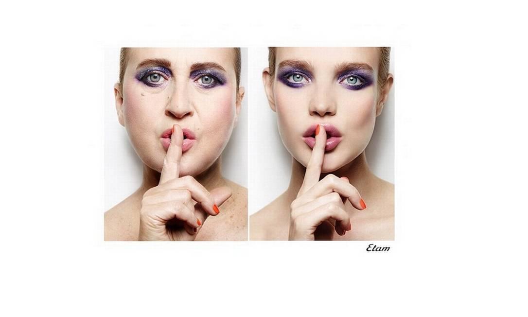 Nathalie, sempre à esquerda, faz paródia de campanha da grife Etam, estrelada por Natalia Vodianova Reprodução/ Instagram