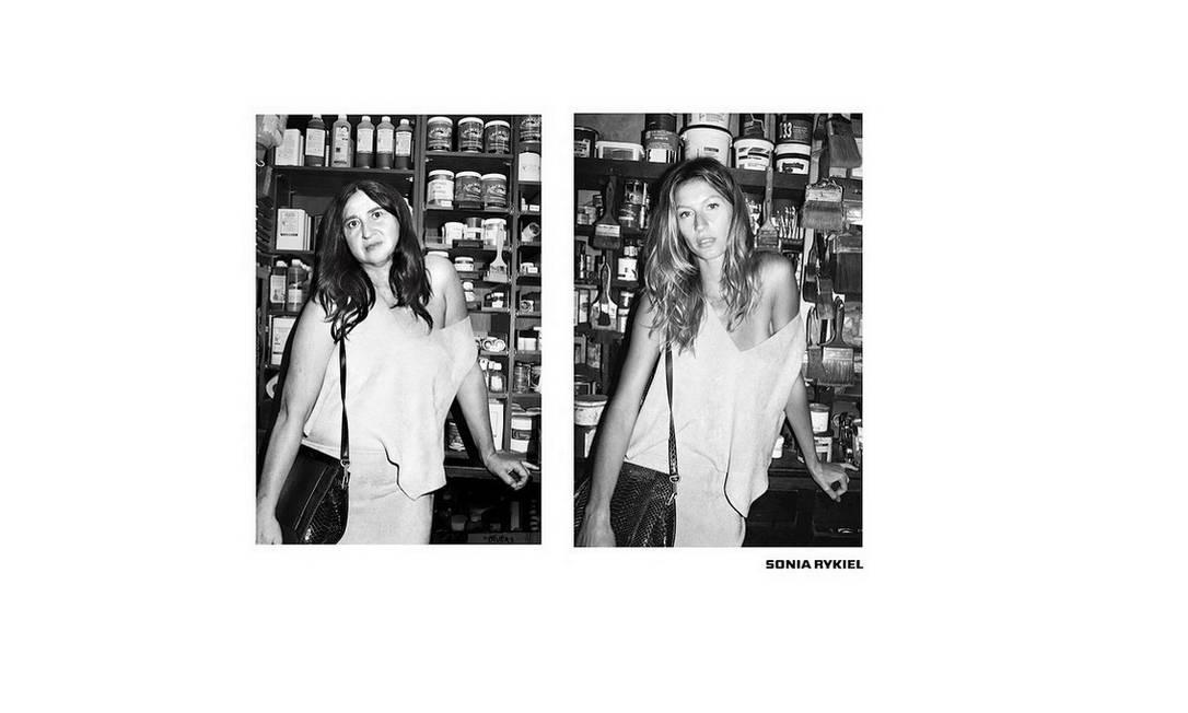 """A stylist e jornalista francesa Nathalie Croquet mostrou que tem senso de humor ao publicar em seu Instagram uma série de fotos batizada de """"Spoof"""". Nas imagens, Nathalie recria algumas campanhas de moda. Aqui, por exemplo, a francesa, à esquerda, reproduz um anúncio da estilista Sonia Rykiel estrelado por Gisele Bündchen Reprodução/ Instagram"""