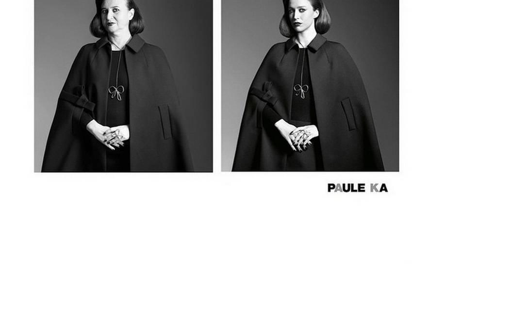 Nathalie mais clássica, imitando Raquel Zimmermann num anúncio da grife Paule Ka Reprodução/ Instagram