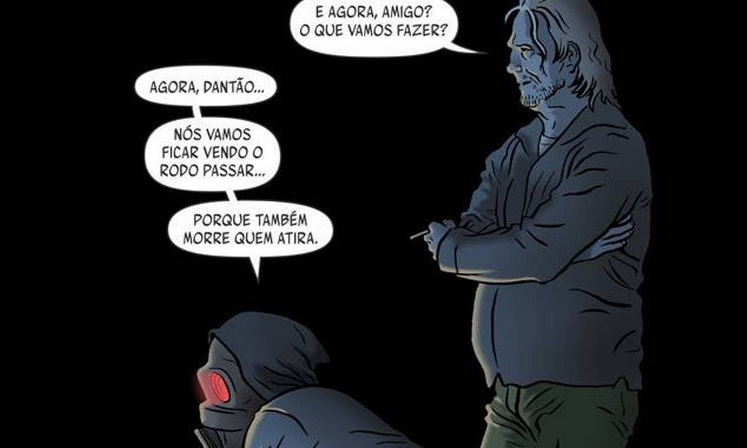 No diálogo, uma referência a um dos clássicos do Rappa, banda fundada por Marcelo Yuka. O baterista participou do roteiro do quadrinho Foto: Reprodução