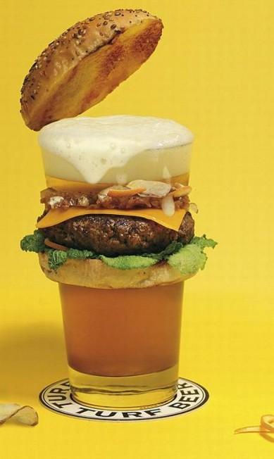 Que tal um hambúrguer feito com malte, cevada e lúpulo? Ou uma versão recheada de ostras? Certamente você não vai encontrar esses sabores nas redes de fast food. As criações são de dois artistas parisienses que, entendiados com as opções disponíveis no mercado, resolveram criar e fotografar 60 receitas inusitadas Reprodução Fat & Furious Burger