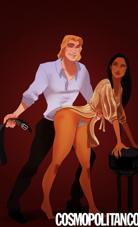 Pocahontas e John Smith reproduzem a cena em que Mr. Grey bate em Anastasia Foto: Reprodução