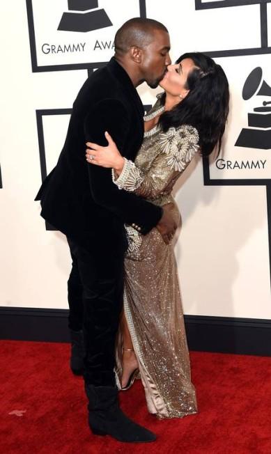 Kim e Kanye estavam realmente empolgados no red carpet Jason Merritt / AFP