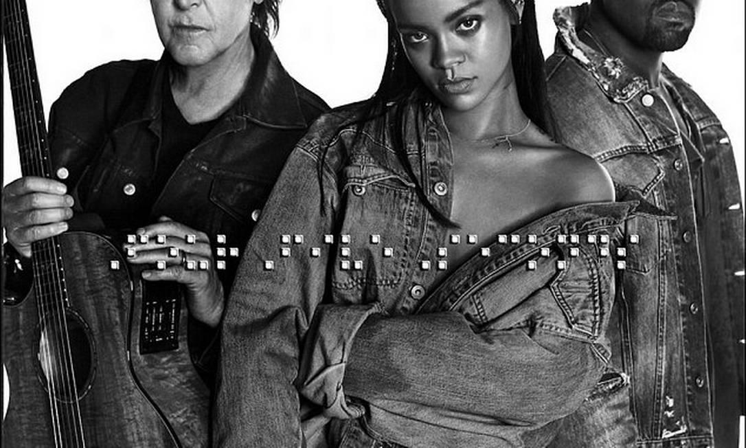 No último sábado, a cantora anunciou no Twitter que seu novo álbum contará com uma faixa em parceria com Kanye West e Paul McCartney © Rihanna Twitter