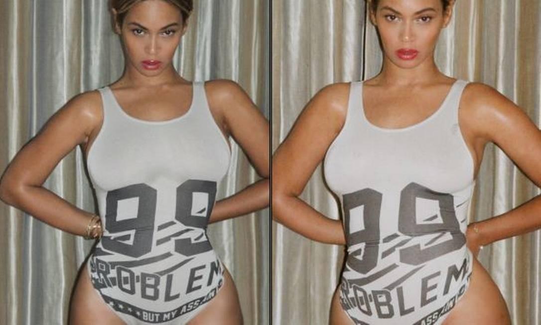Em novembro, Beyoncé voltou a levantar as suspeitas dos fãs. Para eles, o desalinho nas cortinas na foto esquerda comprovariam que a cantora teria dado uma reduzida na cintura com a ajuda de um editor de imagens. A foto do lado direito, acreditam, reforçaria a tese Foto: Divulgação