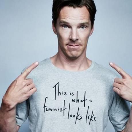 """Benedict Cumberbatch veste camiseta com os dizeres: """"Esta é a aparência de um feminista"""" Foto: The Independent"""