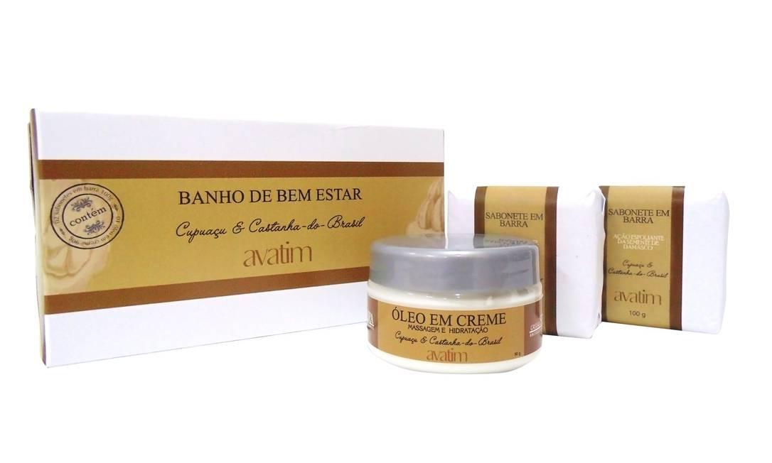 Com embalagem neutra, o kit Bem Estar vem com dois sabonetes em barra, com efeito esfoliante, e um óleo em creme. R$ 42 (www.avatim.com.br) Divulgação