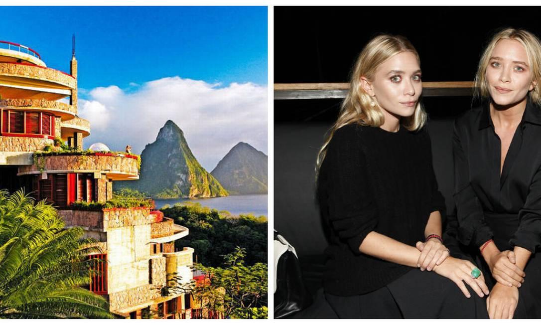 O Hotel Jade Mountain, em Santa Lucia, na Inglaterra, é o favorito das gêmeas Mary-Kate e Ashley Olsen. O local, cujas diárias começam a partir de US$ 1.125 (cerca de R$ 3 mil). Os destaques da propriedade são as piscinas de bordas infinitas e a vista para as montanhas Piton Divulgação / AP