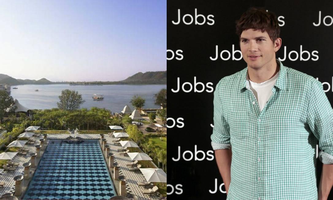 Na Índia, o Leela Palace Udaipur, na frente do lago Pichola, é destino certo para as férias de Ashton Kutcher. O preço? R$ 990 a diária Divulgação / AFP