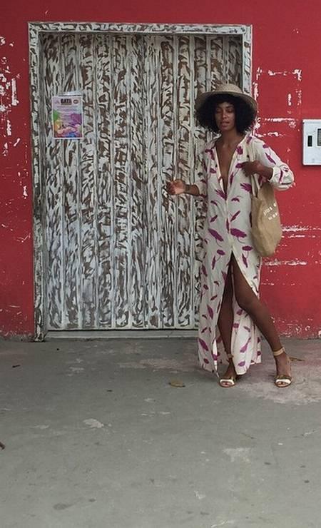 Solange também trouxe peças estampadas para sua lua de mel na Bahia Foto: Reprodução/ Instagram
