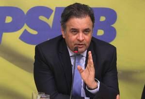 Presidente nacional do PSDB, senador Aécio Neves Foto: Givaldo Barbosa / Agência O Globo