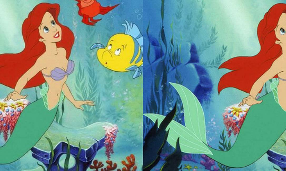 """A ilustradora Loryn Brantz resolveu mostrar como as princesas da Disney seriam se tivessem cinturas com medidas de mulheres saudáveis. O resultado do trabalho foi divulgado pelo site """"BuzzFeed"""". Ariel, de """"A pequena sereia"""", ganhou alguns centímetros... Montagem com fotos de divulgação Disney e reprodução BuzzFeed"""