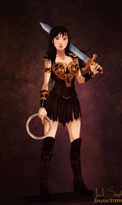 Mulan trocou a China antiga pela Grécia para viver Xena, a princesa guerreira Isaiah Stephens
