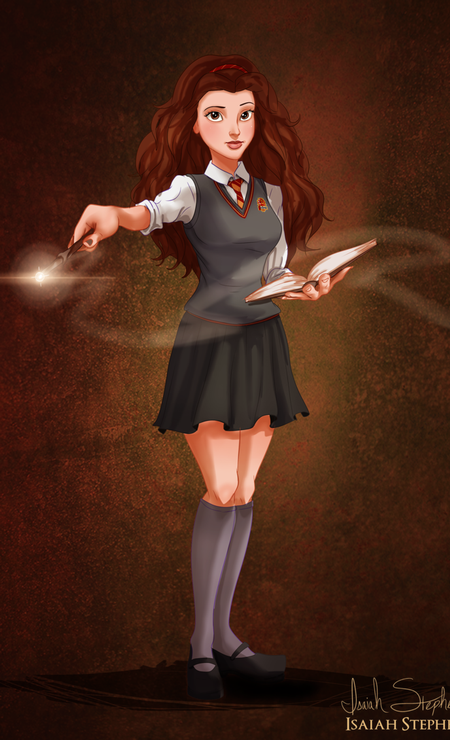 """Leitora ávida, Belle, de """"A bela e a fera"""", encontrou muito em comum com a estudiosa Hermione, de """"Harry Potter"""" Foto: Isaiah Stephens"""