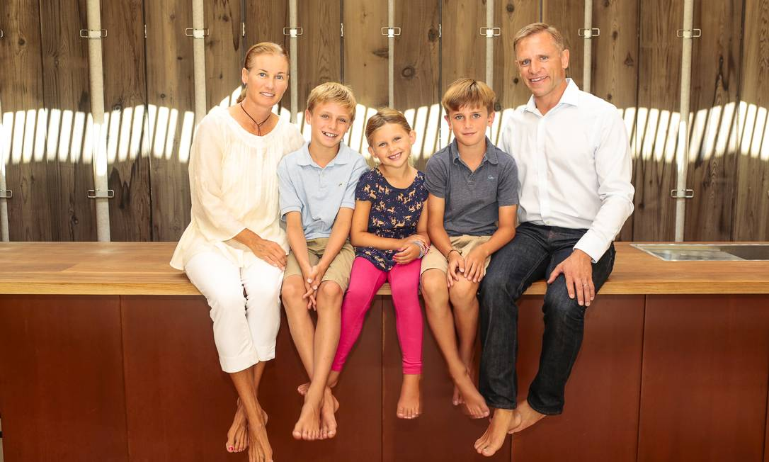 Família feliz: Masi, a mulher e os três filhos ERIC STRIFFLER / NYT