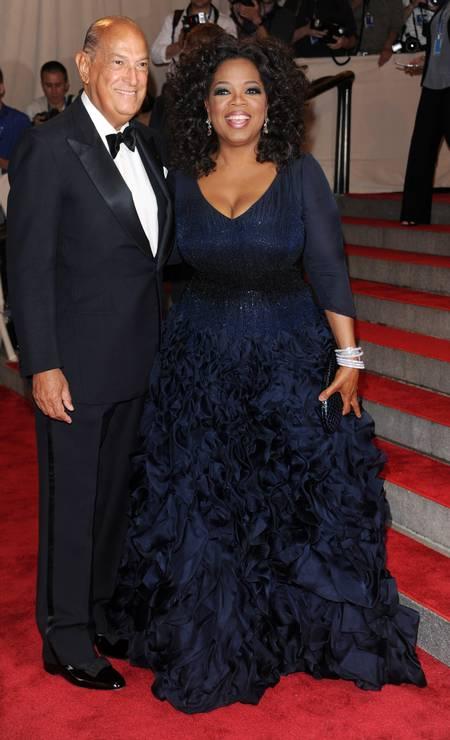 Em 2010, sua acompanhante no baile do MET foi a apresentadora Oprah Winfrey Foto: Evan Agostini / AP