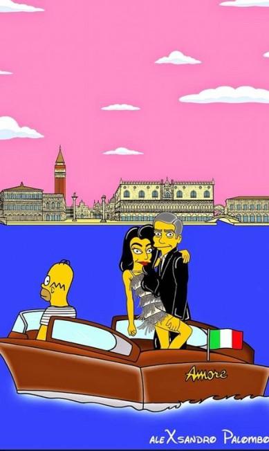 """O artista e ilustrador italiano Alexsandro Palombo transformou George Clooney e sua Amal Alamuddin em personagem de """"Os Simpsons"""". Conhecido por seus desenhos irreverentes, Palombo fez pelo menos cinco desenhos em referência ao casal Alexsandro Palomb"""