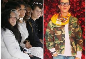 À esquerda, Kim entre Kris Jenner e Kanye West já no desfile, após o incidente. À direita, Vitalii Sediuk antes da confusão Foto: Fotos AFP e Instagram