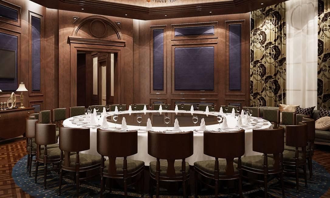 O hotel tem restaurante com comidas típicas da China e da Alemanha Divulgação / The Hotel Castle