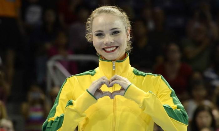 Angelica Kviecznski comemora a conquista do bronze na final do arco (Foto: Eric Bolte / USA Today Sports)