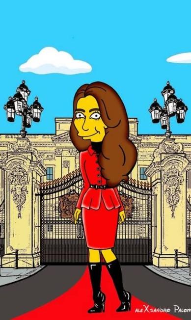 "O artista e ilustrador italiano Alexsandro Palombo transformou Kate Middleton em personagem de ""Os Simpsons"" Alexsandro Palombo/ The Independent"