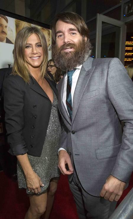 "Jennifer Aniston,45 anos, e Will Forte no lançamento do fime ""Life of Crime"" MARIO ANZUONI / REUTERS"