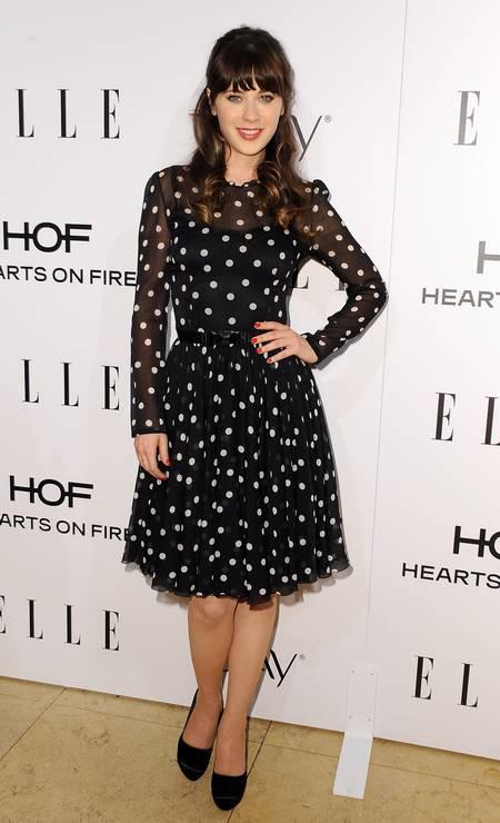 A atriz Zooey Deschanel, na opinião das modelos, é a que tem o senso de humor mais sexy... ANGELA WEISS / AFP