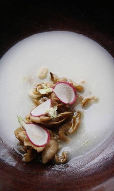 A pesquisa de Felipe Schaedler em cima dos cogumelos o levou a criar pratos como este: cogumelos raphanica em seu caldo com rabanete: sabor leve e amanteigado Ana Branco / Agência O Globo