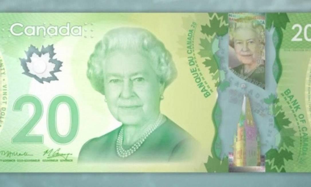 Na mais recente nota de 20 dólares canadenses, a Elizabeth II que conhecemos hoje. Foto foi tirada quando ela tinha 85 anos (atualmente, a rainha está com 88) Reprodução