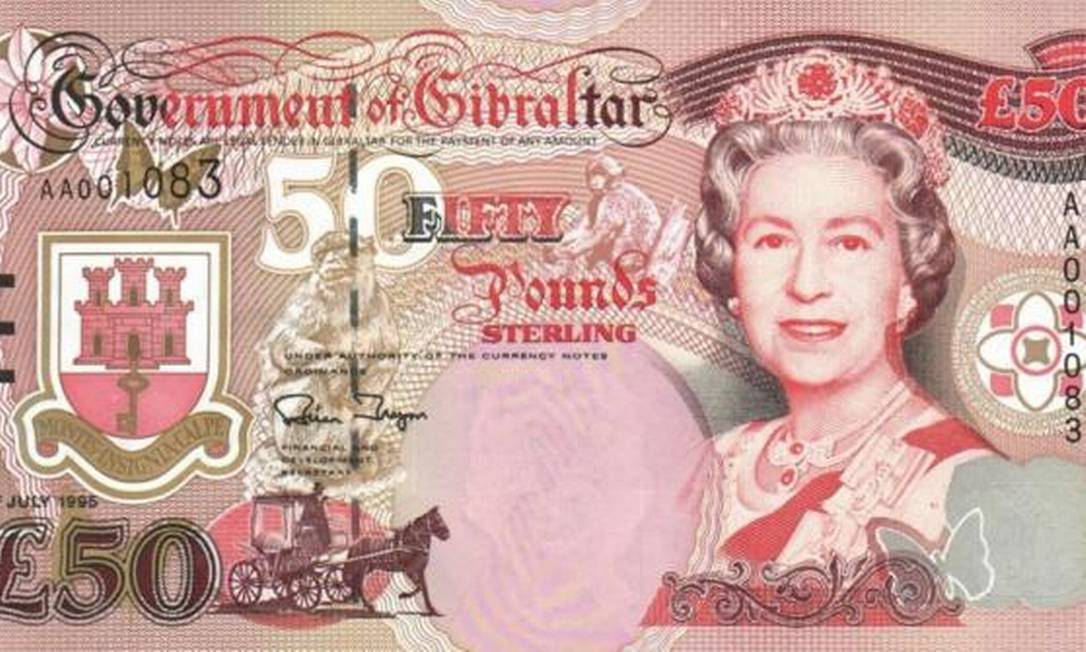 Bem conservada: aos 66, ela ilustra nota de cinquenta libras em Gibraltar, território ultramarino na península ibérica Reprodução