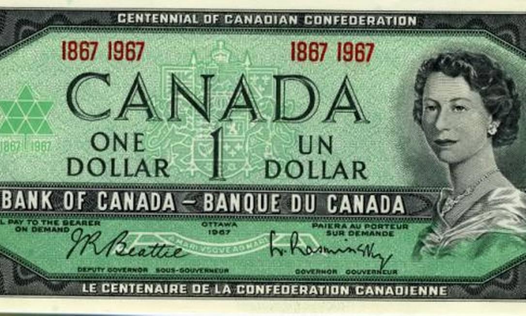 Também emitida no Canadá, esta nota de um dólar exibe a princesa no ano anterior à morte de seu pai, George VI, em 1951 Reprodução