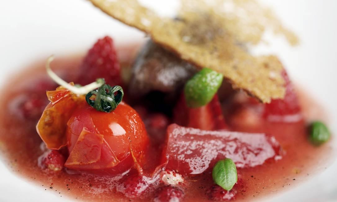Gaspacho de morango e tomate, do Pollen Street Social Divulgação