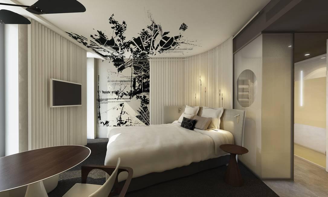 Quarto do hotel: street art foi mantida como referência na decoração Divulgação