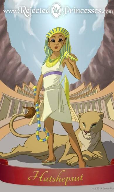 Hatshepsut: faraó do Egito, ela foi uma das governantes mais importantes desta civilização. Reza a lenda, a mãe de Hatshepsut lhe teria dado a luz em meio a leões Rejected Princess