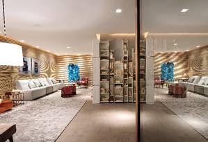 O Lounge Galeria, do arquiteto Leo Shetman, é um dos destaques da Casa Cor São Paulo, a maior mostra de decoração da América do Sul, que acontece no Jockey Club até o dia 20 de julho Foto: SIDNEY DOLL / Divulgação