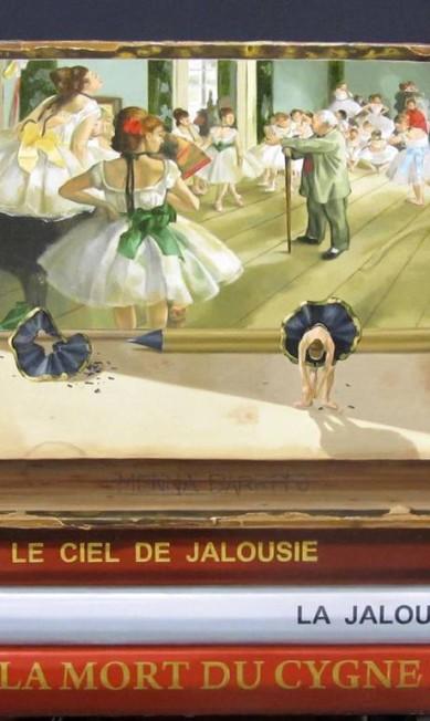 Livros e pinturas de Jalousie pelo olhar da artista Reprodução