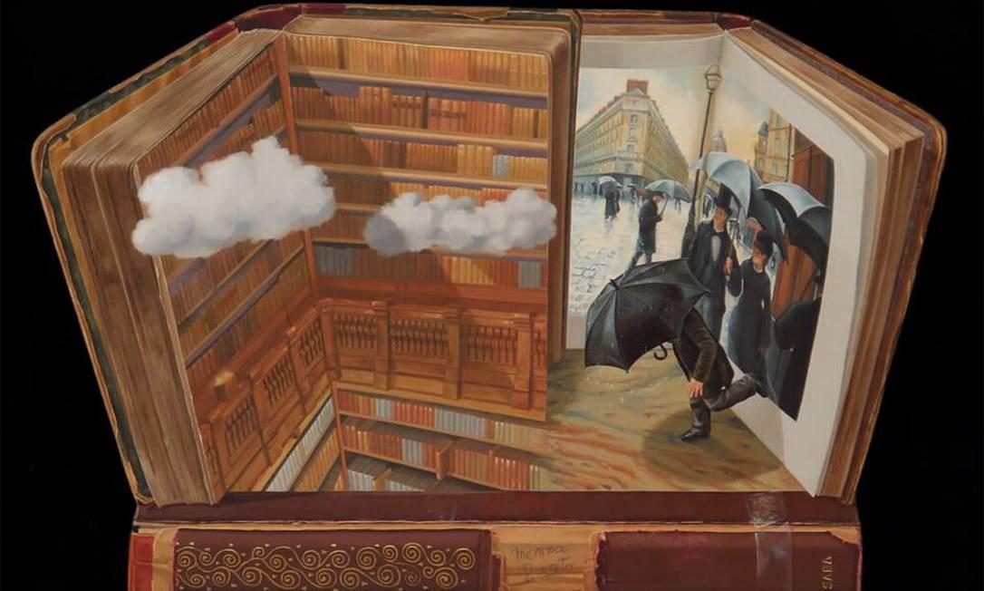 """Versão de """"Rainy day"""", de Gustave Caillebotte, em que os personagens fogem do livro Reprodução"""